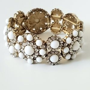 Faux Pearl with White Crystals Bracelet